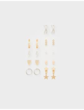 Komplet Kolczyków Z Kryształkami by Bershka