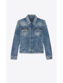 "Medium Blue Denim Jacket With Worn Look ""Ysl Disco"" Print On Back by Saint Laurent"