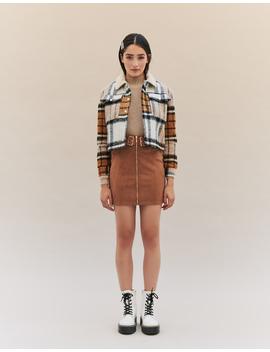 Faux Shearling Collar Tweed Jacket by Tally W Ei Jl