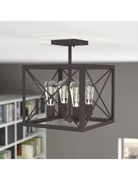 Aged Bronze Borkowski 4 Light Semi Flush Mount by Mercury Row