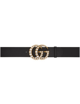 Black Wide Leather Gg Crystal Belt by Gucci