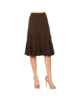 Women's Solid Basic Godet Style Knee Length Ruffled Detail Skirt   Brown   S by Moa Collection