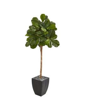 71 In. Fiddle Leaf Fig Artificial Tree In Black Planter by Nearly Natural
