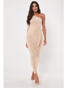 Stone One Shoulder Slinky Bodycon Ruched Midaxi Dress by Missguided