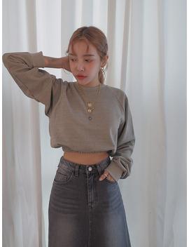 Elastic Hem Cropped Sweatshirt by Stylenanda