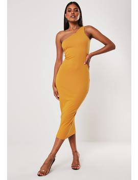 Mustard Rib One Shoulder Midi Dress by Missguided