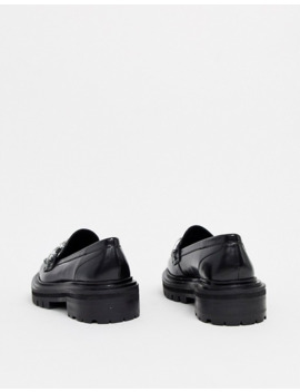 Asos Design Mystery Leather Chunky Flat Shoes In Black by Asos Design