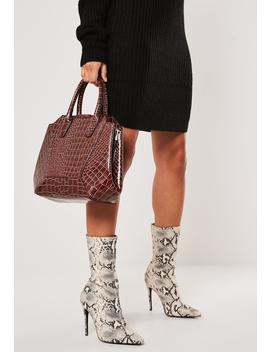Brown Vinyl Croc Handbag by Missguided