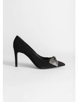 Suede Glitter Bow Heeled Pumps by & Other Stories
