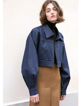 Dark Indigo Cropped Denim Zip Jacket With Balloon Sleeves by The Frankie Shop