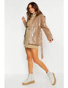 Patent Belted Faux Leather Jacket by Boohoo