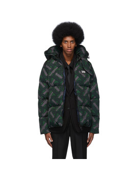 Green Monogram Puffer Down Dalston Jacket by Burberry