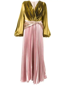 Multicoloured Rny Pleated Liquid Satin Gown by Peter Pilotto
