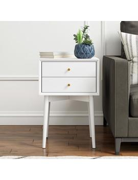 Harper White Nightstand With 2 Drawer Wooden Side Table Or End Table by Nathan James