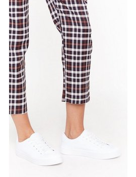 Peace Of Mind Faux Leather Trainers by Nasty Gal
