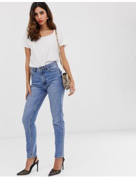 Vero Moda – Stentvättade Mom Jeans Med Hög Midja by Vero Moda