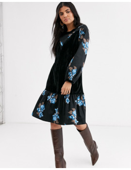 Lost Ink Midi Dress With Velvet Inserts by Lost Ink.