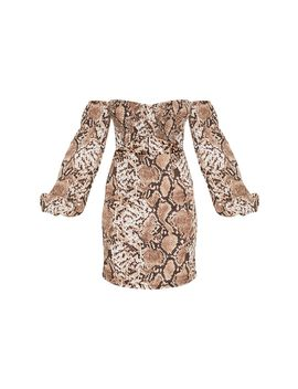 Brown Snake Print Ruched Bust Cut Out Bardot Shift Dress by Prettylittlething