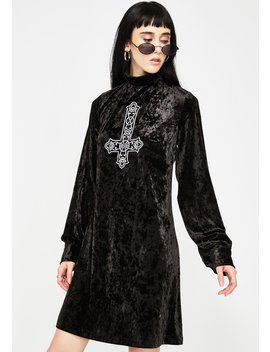 Crucifix Velour Dress by Disturbia