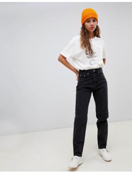 """Weekday – Rigid – Svarta Jeans I Ekologisk Bomull Och """"Mom Jeans"""" Modell Med Hög Midja by Weekday"""