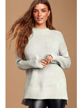 Sleepy Sunday Grey Mock Neck Knit Sweater by Lulus