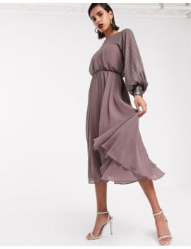 Asos Design Midi Dress With Linear Yoke Embellishment by Asos Design