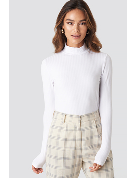 Turtle Neck Long Sleeve Top White by Na Kd