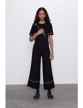 Kalhoty S KontrastnÍm LemovÁnÍm by Zara
