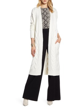 Cable Knit Long Cardigan by Halogen®