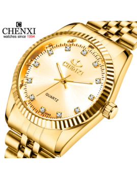 Golden New Clock Gold Fashion Men Watch Full Gold Stainless Steel Quartz Watches Wrist Watch Wholesale Chenxi Gold Watch Men by Ali Express.Com
