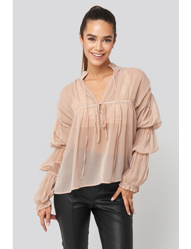 Puffy Sleeve Draped Chiffon Blouse Rosa by Na Kd Trend