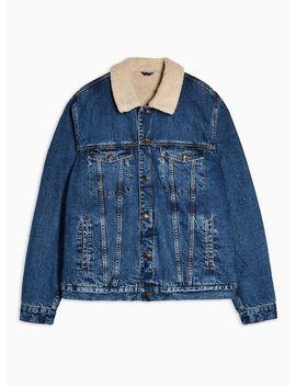 Big & Tall Mid Wash Borg Western Denim Jacket* by Topman