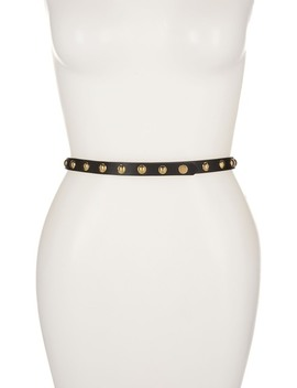 Epsom Leather Studded Slim Belt by Burberry