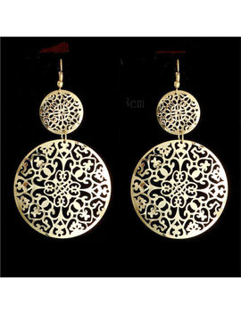 Big Gold Disc Earrings Round Statement Party Drop Hoop Ethnic Dangle African Uk by Ebay Seller