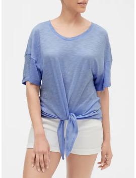 Easy Tie Front T Shirt In Slub by Gap