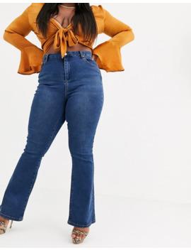 Asos Design Curve   Sculpt Me   Jeans Lunghi A Zampa Lavaggio Medio Blu Vintage by Asos Design