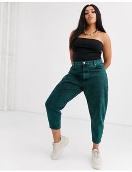 Asos Design Curve   Jeans Boyfriend A Palloncino Lavaggio Acido Verde by Asos Design
