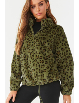 Plush Leopard Print Half Zip Pullover by Forever 21