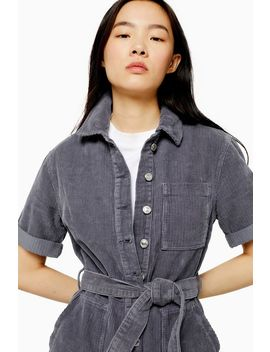 Blauer Cord Playsuit by Topshop