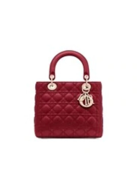 Cherry Red Lady Dior Medium Lambskin Bag by Dior