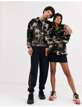 Collusion Unisex Oversized Tie Dye Denim Jacket by Collusion