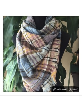 Plaid Checked Fringe Triangle Cashmere Blend Scarf   Boutique by Poshmark