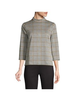 Plaid Mockneck Sweater by Lord & Taylor