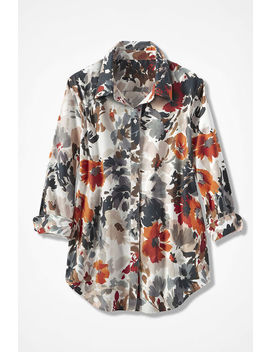 Floral Solstice 3/4 Sleeve No Iron Shirt by Coldwater Creek