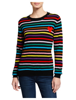 Striped Cashmere Heart Intarsia Sweater by Chinti And Parker