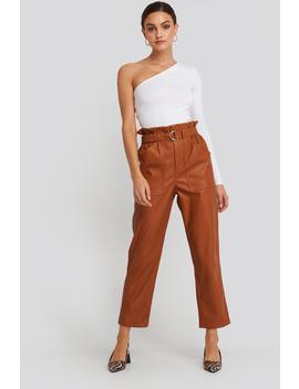Tied Waist Pu Pants Brown by Na Kd Trend