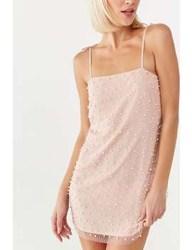 Faux Pearl Mesh Cami Dress by Forever 21