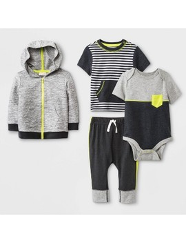 Baby Boys' Hoodie, Bodysuit, T Shirt And Leggings Set   Cat & Jack™ Charcoal/Black by Cat & Jack