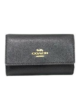 Authentic Coach Logo 6 Key Case Holder Leather Black Ghw Used Vintage by Coach