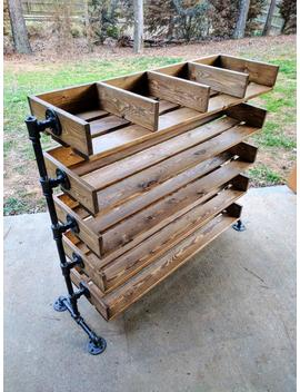 Handmade Reclaimed Cubbies Wood Shoe Stand / Rack / Organizer With Pipe Stand Legs by Etsy